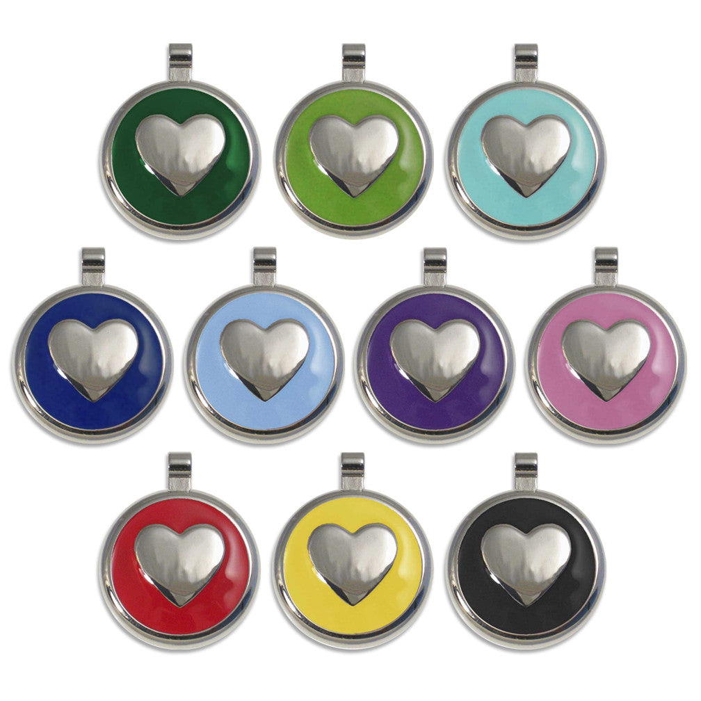 Enamel Heart Small Dog ID Tags, 10 Colors