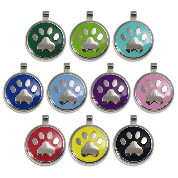 Enamel Paw Small Dog ID Tags, 10 Colors