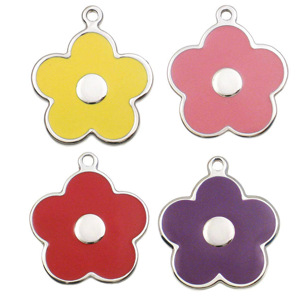 Enamel on Stainless Steel Flower Dog ID Tags
