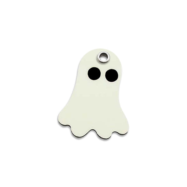 Plastic Glow-In-The-Dark Ghost Small Dog ID Tag, ID Tag, Small Dog Mall, Small Dog Mall - Good things for little dogs.