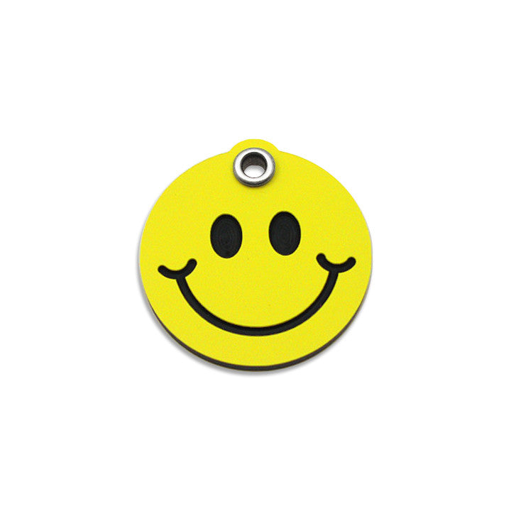 Plastic Happy Face Small Dog ID Tag, ID Tag, Small Dog Mall, Small Dog Mall - Good things for little dogs.