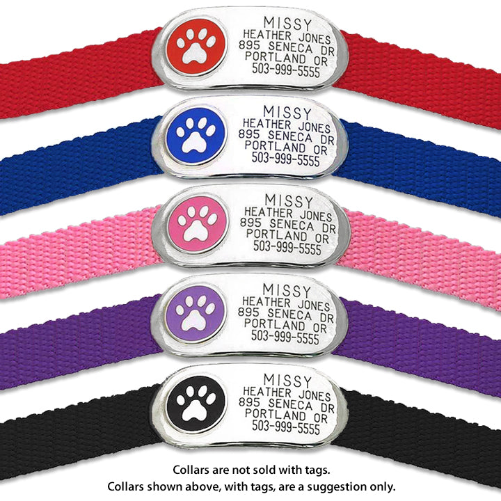 Jewelry On-Collar Silent Paw Design Pet ID Tag