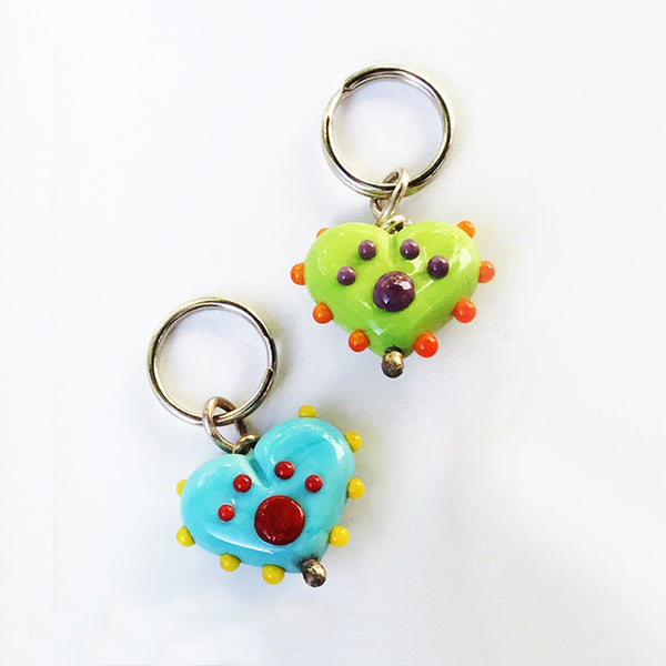 Handcrafted Colorful Lampwork Paw Print Heart Charms