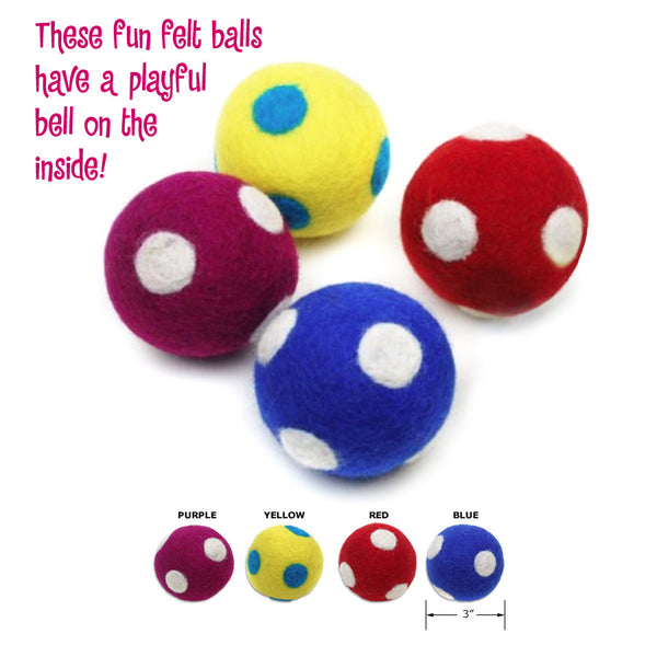Dot Design Felt Bell Balls Small Dog or Cat Toy