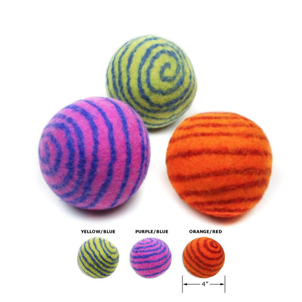 Spiral Design Felt Ball Dog Toy