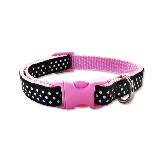 Adjustable Pink, Black & White Dots Dog Collar, , Collar, Small Dog Mall, Small Dog Mall - Good things for little dogs.  - 1