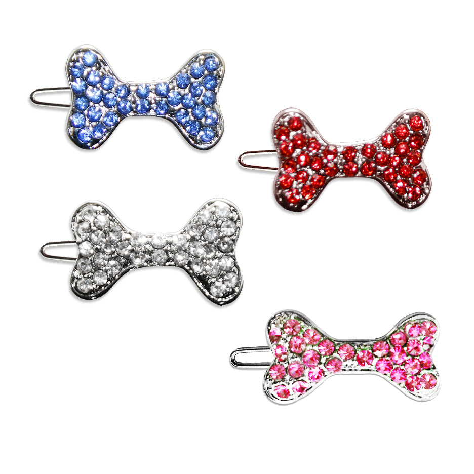 Crystal Bone Small Dog Hair Barrette