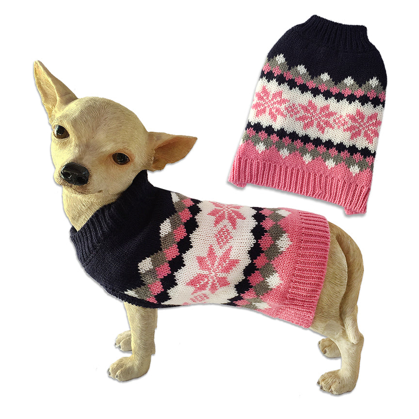 Blue & Pink Snowflake Small Dog Sweater