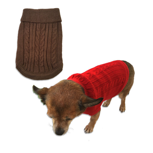 Classic Cable Knit Puppy Sweater