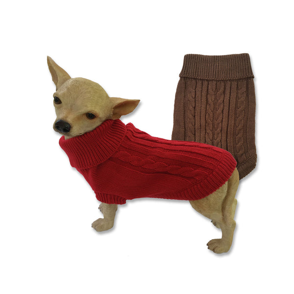 Classic Cable Knit Dog Sweater, Sweaters, Small Dog Mall, Small Dog Mall - Good things for little dogs.  - 1