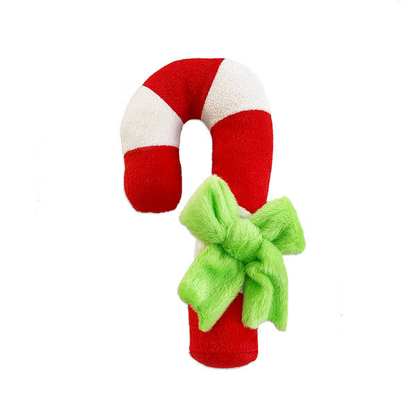 Plush Stripe Candy Cane with a Bow Dog Toy