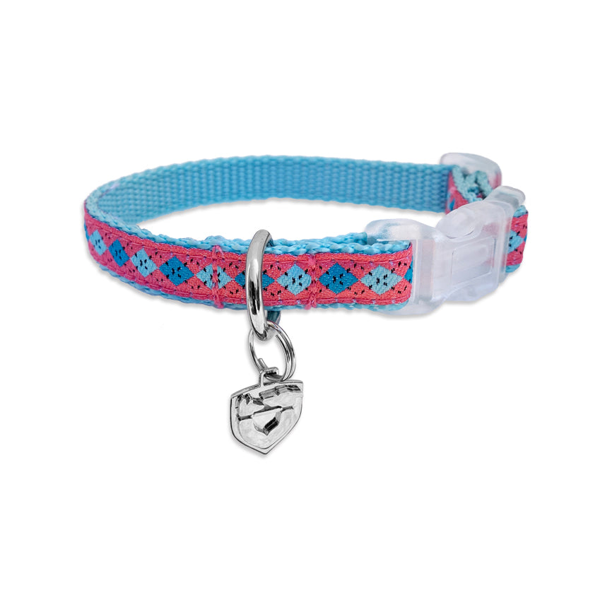 Adjustable Argyle Small Dog Collar