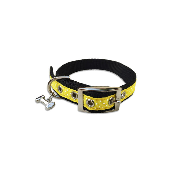 Yellow With White Dots Ribbon Dog Collar, , Collar, Small Dog Mall, Small Dog Mall - Good things for little dogs.  - 1