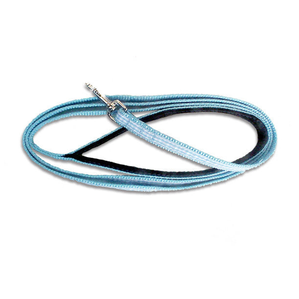 Blue Gingham Leash for Small Dogs