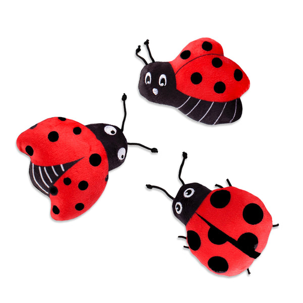 Adorable Mini Ladybug Trio Small Dog Toy