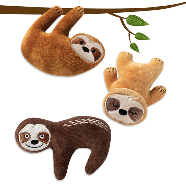 Adorable Mini Sloth Trio Small Dog Toy