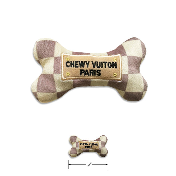 Chewy Vuiton Checker Bone Small Dog Toy