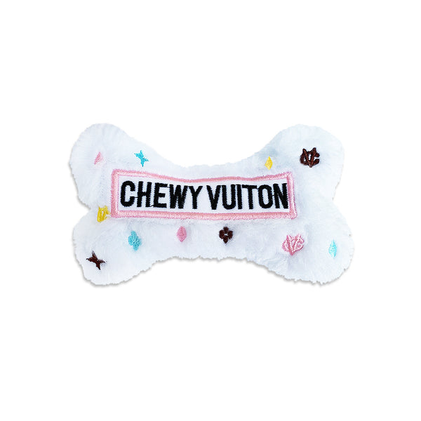 White Chewy Vuiton Bone Small Dog Toy