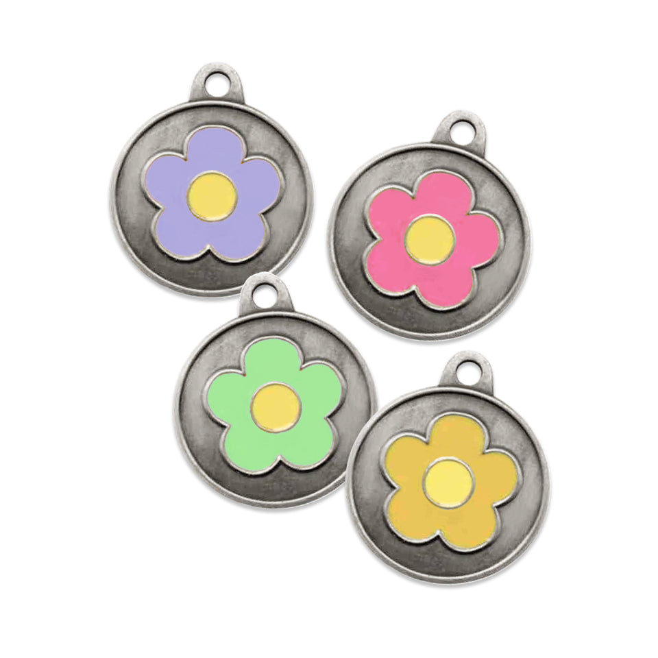 Spring Inspired Enamel Flower Dog ID Tag