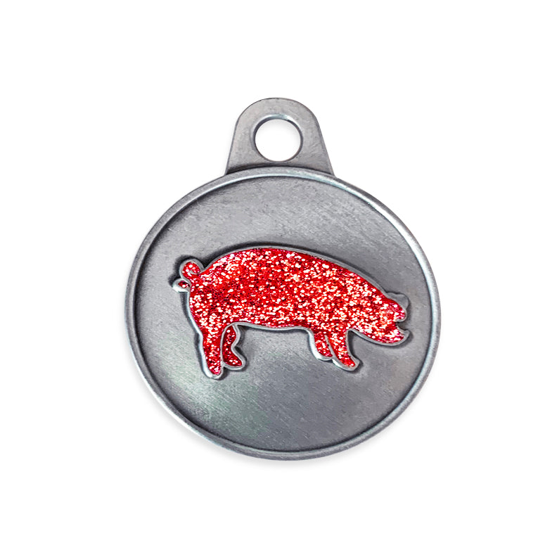 Pink Sparkle Glitter Pig Small Dog Pet ID Tag