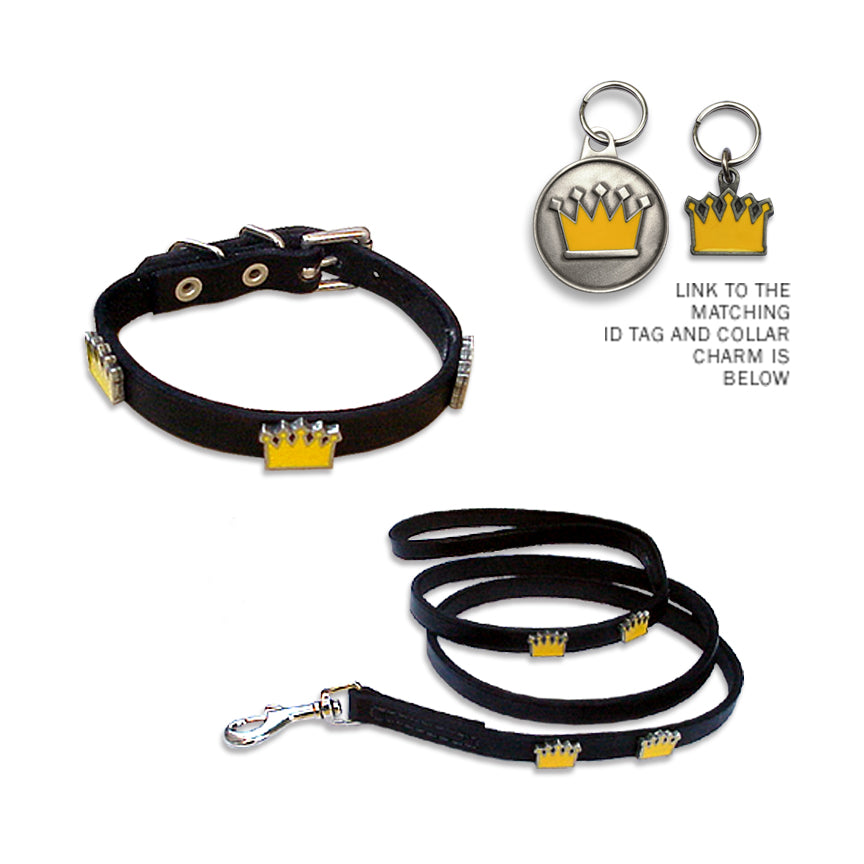 Enamel Crown Dog Collar and Leash