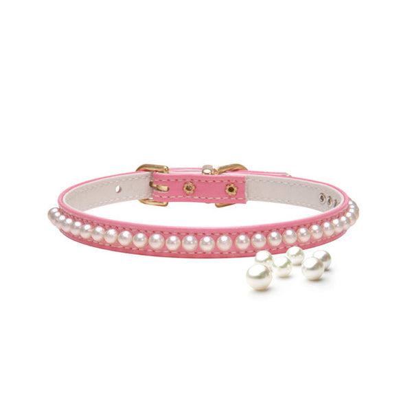 Pink String of Pearls Small Dog Collar