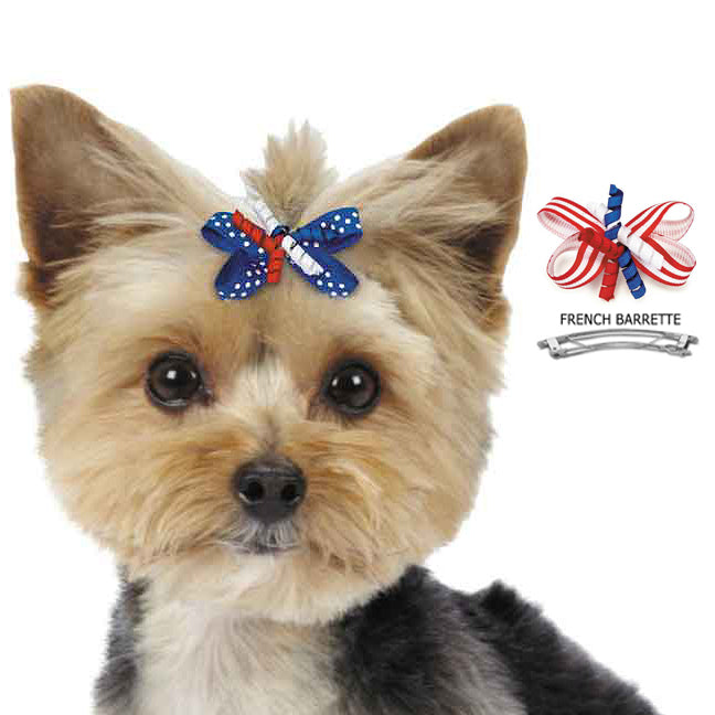 Patriotic Red White & Blue Hair Bow Barrettes