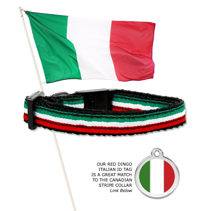 Italian Flag Stripe Collar for Small Dogs, Puppies and Toy Dogs