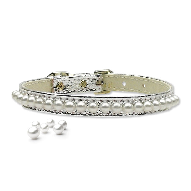 Silver String of Pearls Small Dog Collar