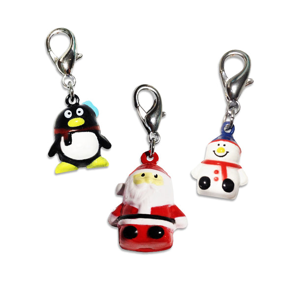 Christmas Collar Bell Charms, Hand Painted Santa, Frosty or Penguin