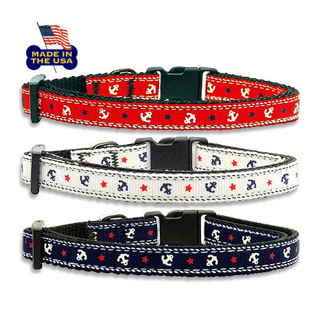 Anchor's Aweigh! Adjustable Style Dog Collar, Collar, Small Dog Mall, Small Dog Mall - Good things for little dogs.  - 1
