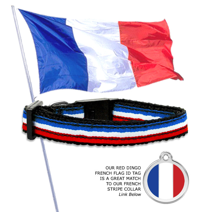 French Flag Stripe Collar for Small Dogs, Puppies and Toy Dogs