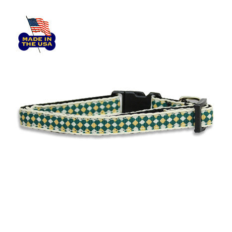 Green Diamond Ribbon Dog Collar, , Collar, Small Dog Mall, Small Dog Mall - Good things for little dogs.  - 1