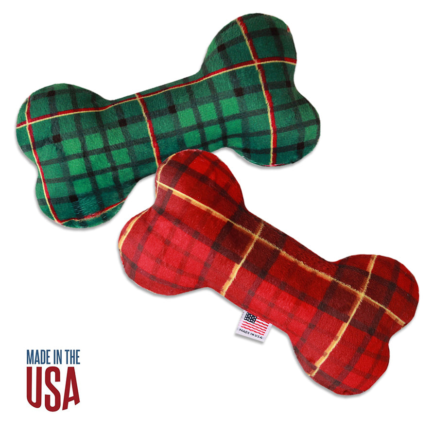 Plush Christmas Tartan Plaid Bone Dog Toy