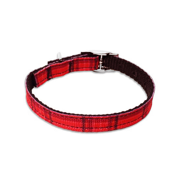 Red Plaid Buckle Style Small Dog Collar