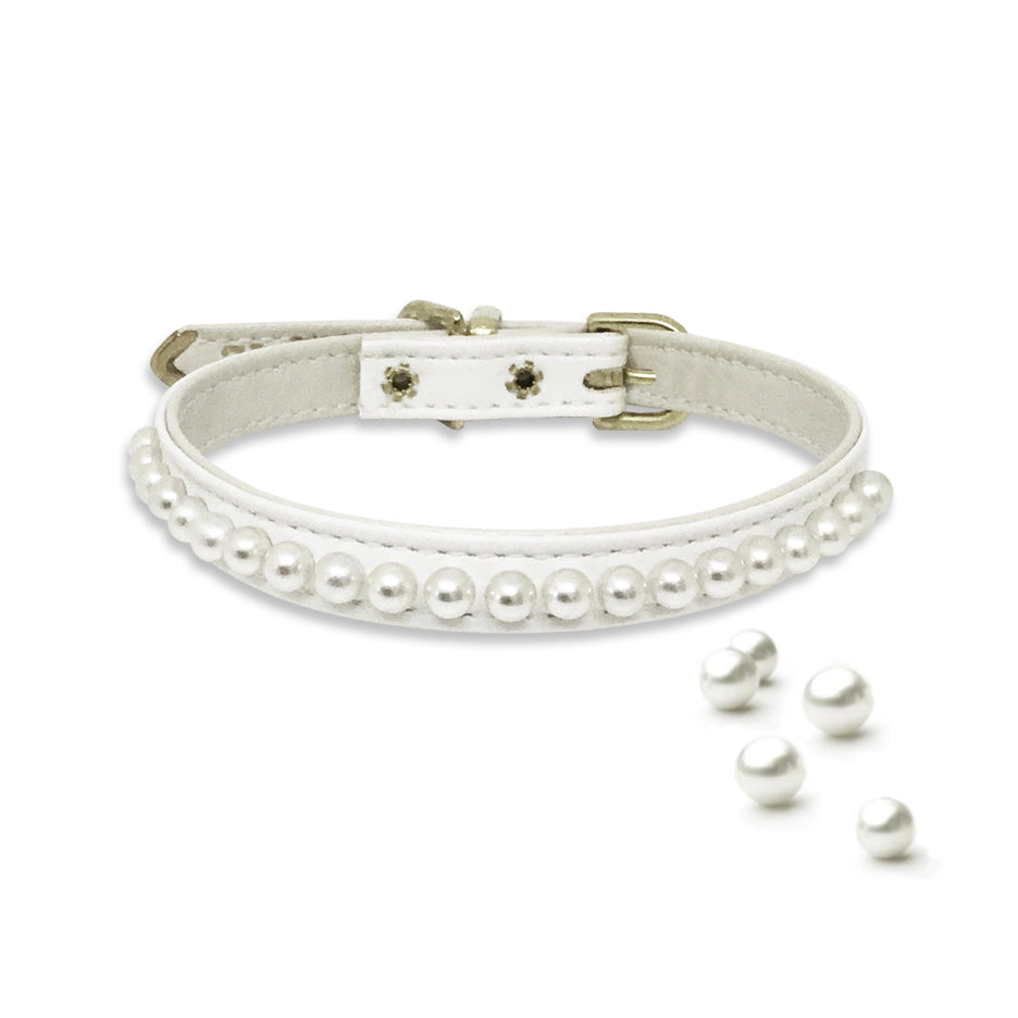 White String of Pearls Small Dog Collar