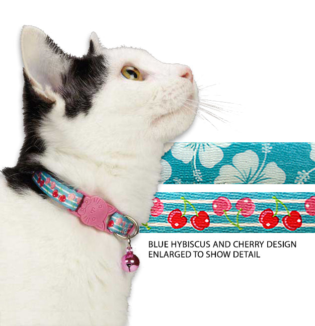 Tropical Inspiration Hybiscus or Cherry Kitty Cat Collar