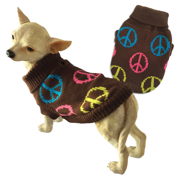 Peace Design Small Dog Sweater