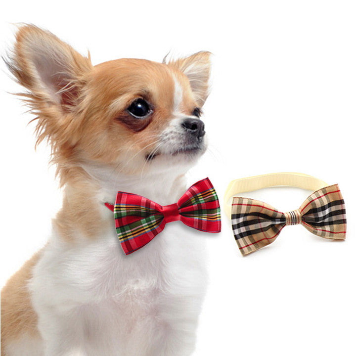 Petite Plaid Bow Tie for Small Dogs