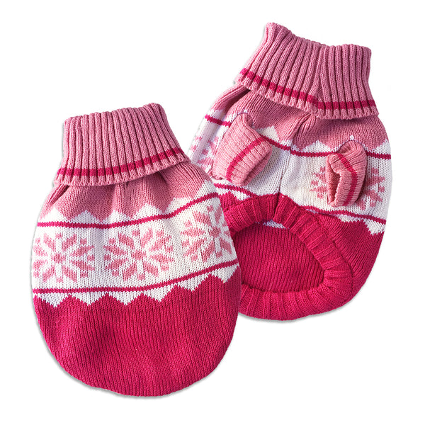Pink Snowflake Small Dog Sweater