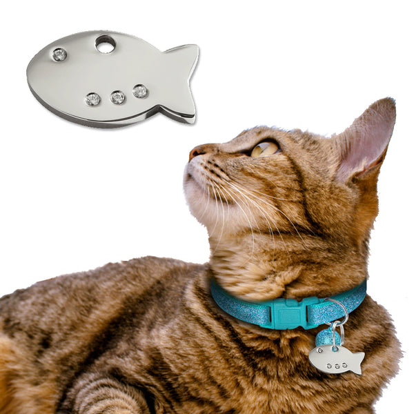 Red Dingo Diamante Fish Cat ID Tag