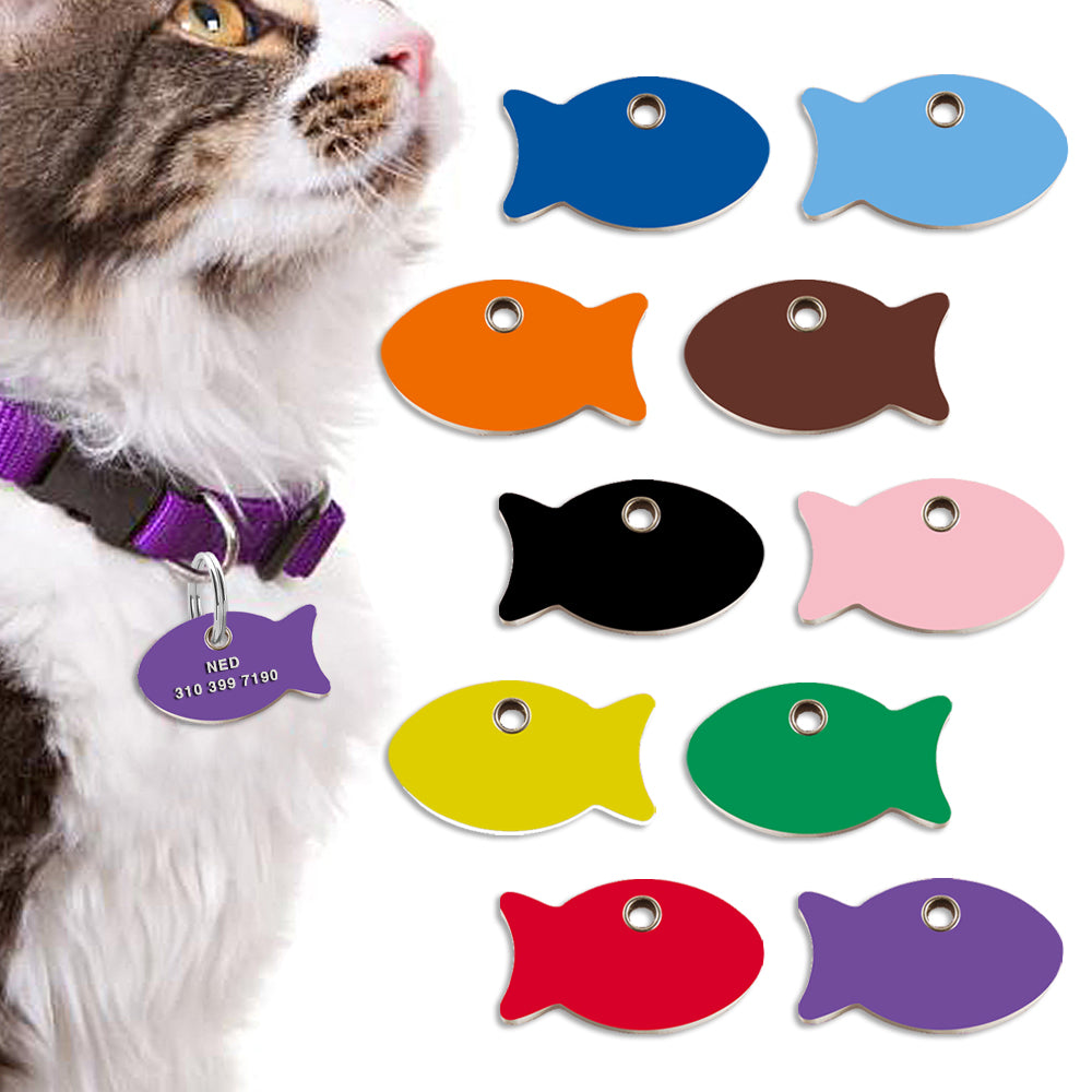 Red Dingo Plastic Fish Cat ID Tag
