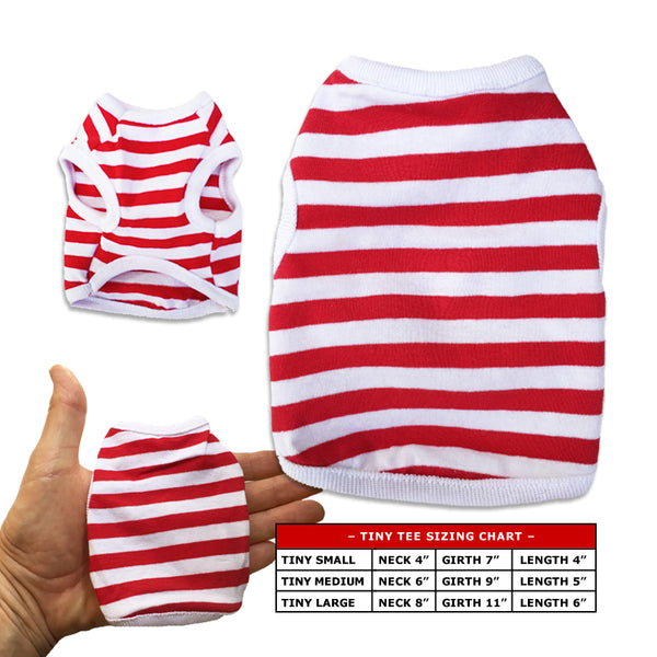 Red & White Stripe Tank Style Puppy and Tea Cup Small Dog Tee