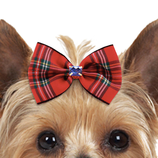 Tartan Hair Bow with Sapphire Blue Crystal for Small Dogs