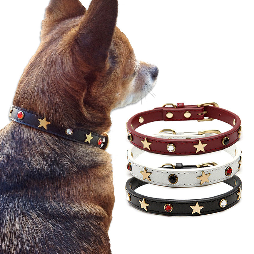 Stars & Crystals Dog Collar for Small Dogs