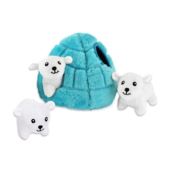 Zippy Paws Burrow Polar Bear Ice Cave Small Dog Puzzle Toy