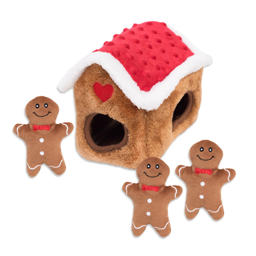 Zippy Paws Gingerbread House & Boys Small Dog Toy
