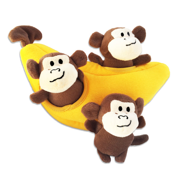 Zippy Paws Burrow Monkeys and Banana Small Dog Puzzle Toy