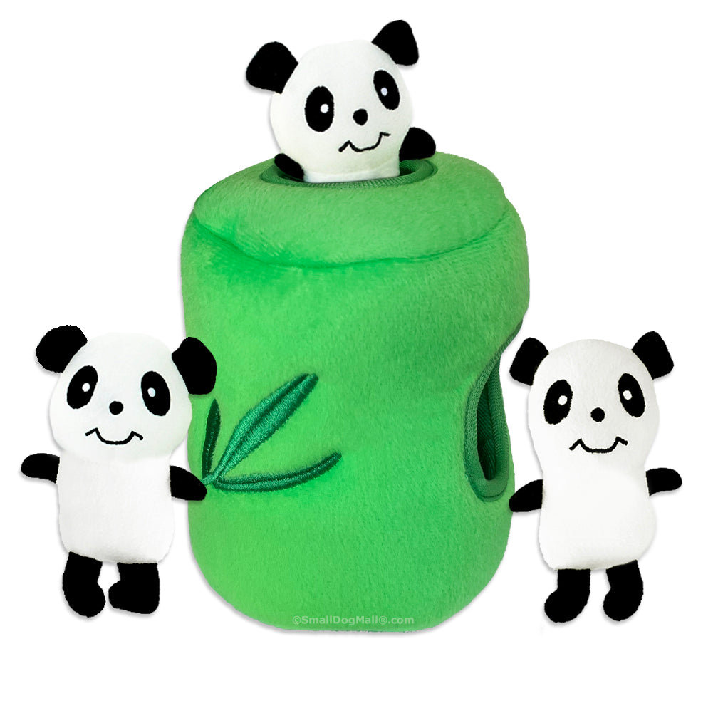 Zippy Paws Panda and Bamboo Den Small Dog Toy