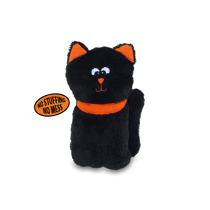 Zippy Paws Cute No Stuffing Black Kitty Small Dog Toy